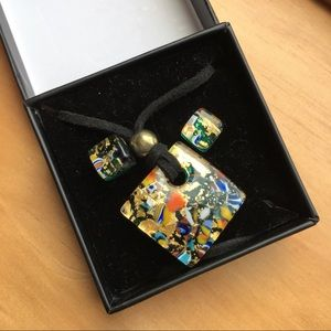 NWT Murano glass made in Italy necklace earrings